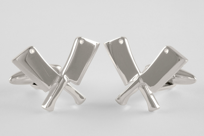 Crossed butcher knives Cufflinks