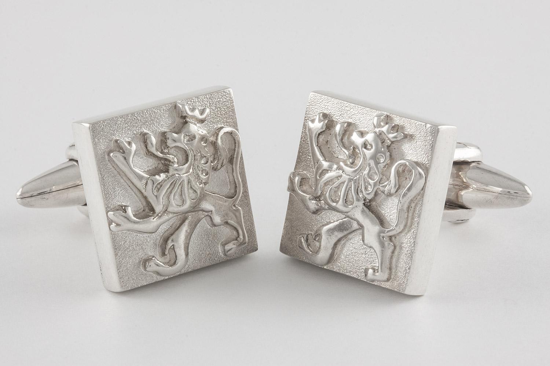 Sterling Silver Lion Swivel Back Cufflinks