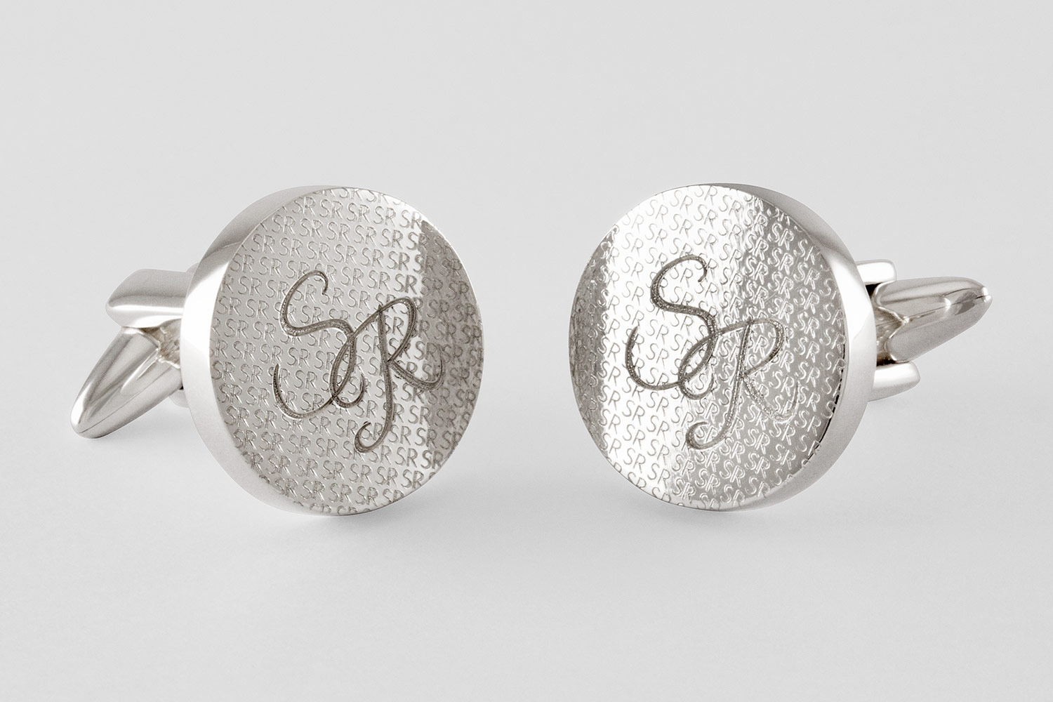 round engraved cufflinks