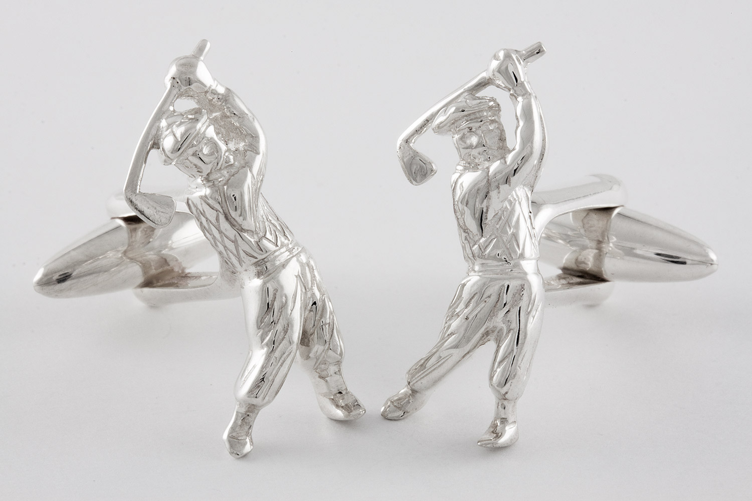 Golfer cufflinks handcrafted from sterling silver 925 for Golf buflings