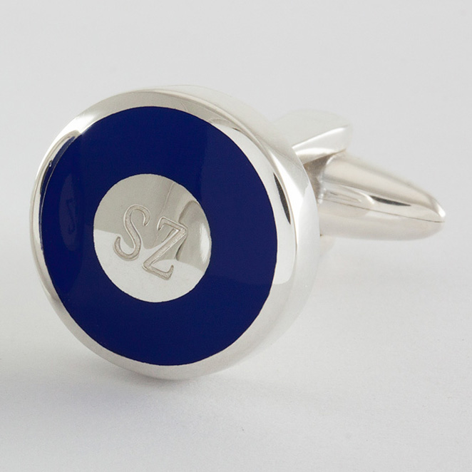 Initial cufflinks with colored ring in navyblue